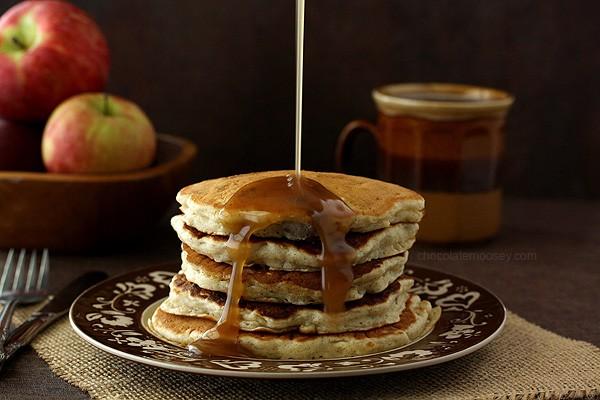 Apple Sausage Pancakes with Apple Cider Syrup | www.chocolatemoosey.com