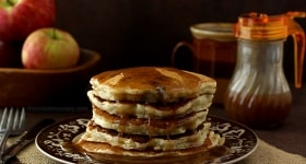 Apple Sausage Pancakes with Apple Cider Syrup