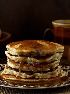Apple Sausage Pancakes For Two with Apple Cider Syrup