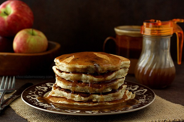 Apple Sausage Pancakes with Apple Cider Syrup | www.chocolatemoosey.com