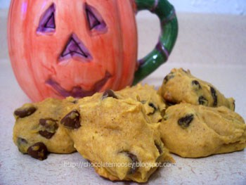 Pumpkin Chocolate Chip (or Raisins) Cookies