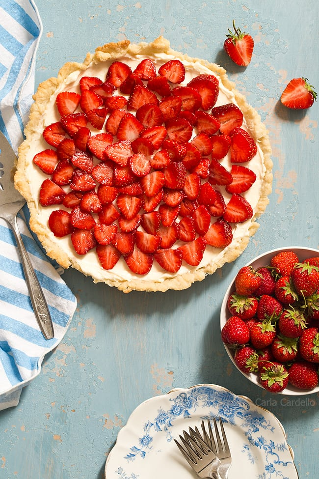 Strawberry Cream Cheese Tart with a homemade pie crust is an easy summer tart that will impress. It's like eating a strawberry pie and cheesecake in one bite.