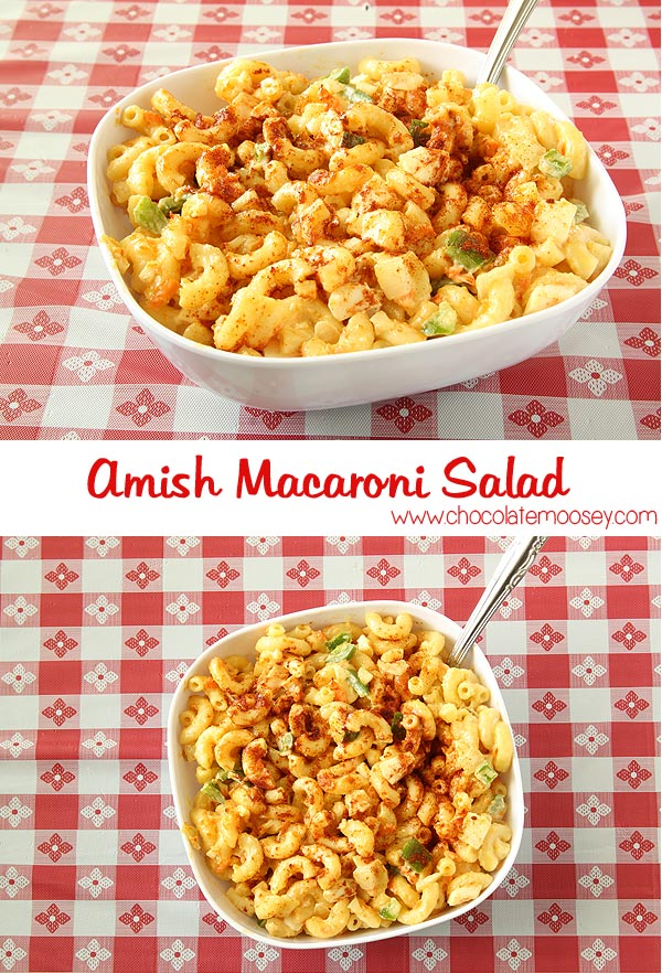 Amish Macaroni Salad made with mustard and paprika