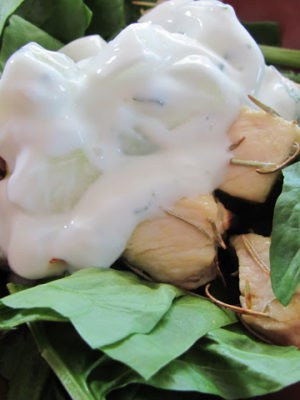 Greek Chicken Salad With Cucumber Dressing