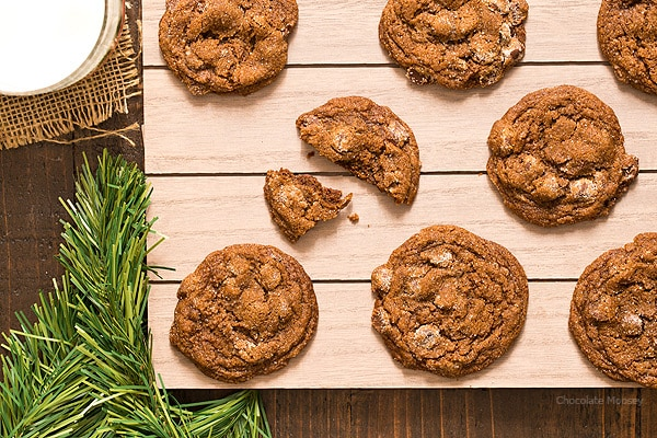 Soft and chewy Chocolate Gingersnap Cookies with chocolate chips and ...