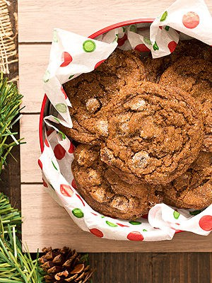 Soft and chewy Chocolate Gingersnap Cookies with chocolate chips and spices taste like Christmas wrapped up inside a cookie (and won't break your teeth).