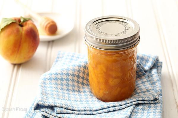 Small Batch Peach Honey Jam made with no pectin