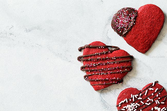 Red Velvet Sugar Cookies for Valentine's Day and Christmas
