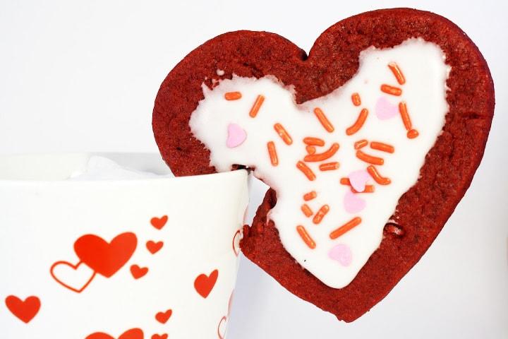 Red Velvet Mug Cookies For Valentine's Day