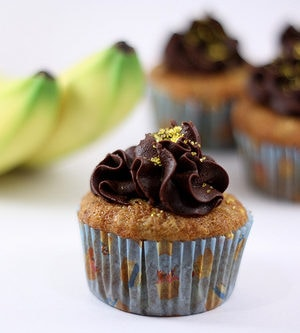 Banana Cupcakes With Chocolate Fudge Frosting