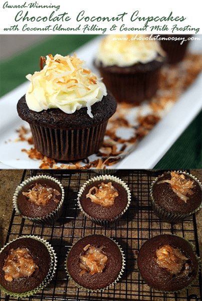 Award-Winning Chocolate Coconut Cupcakes with Coconut Almond Filling and Coconut Milk Frosting