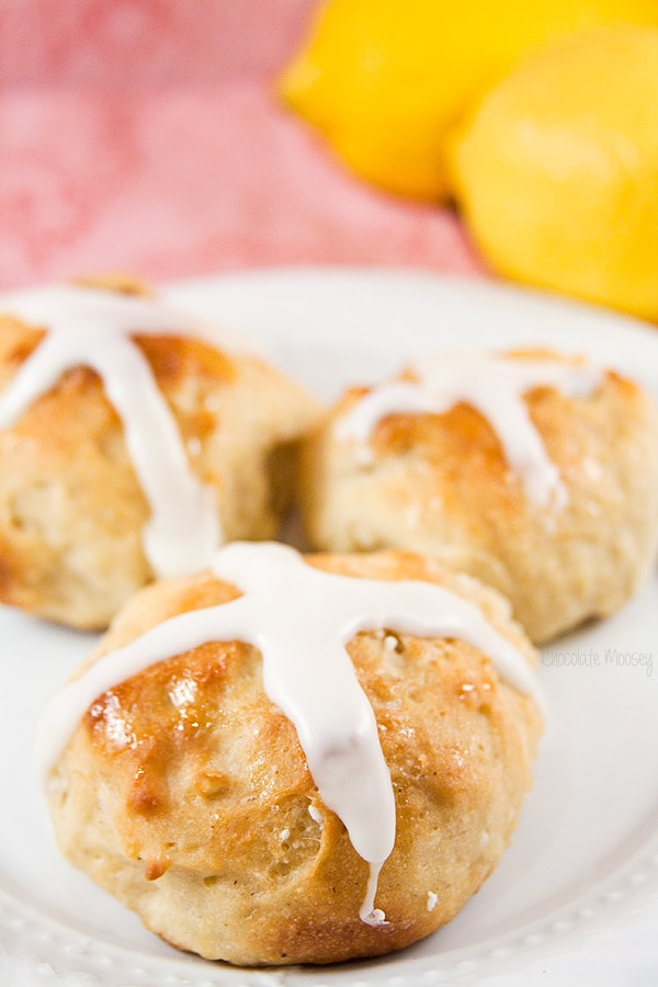 Lemon Cherry Hot Cross Buns for Easter