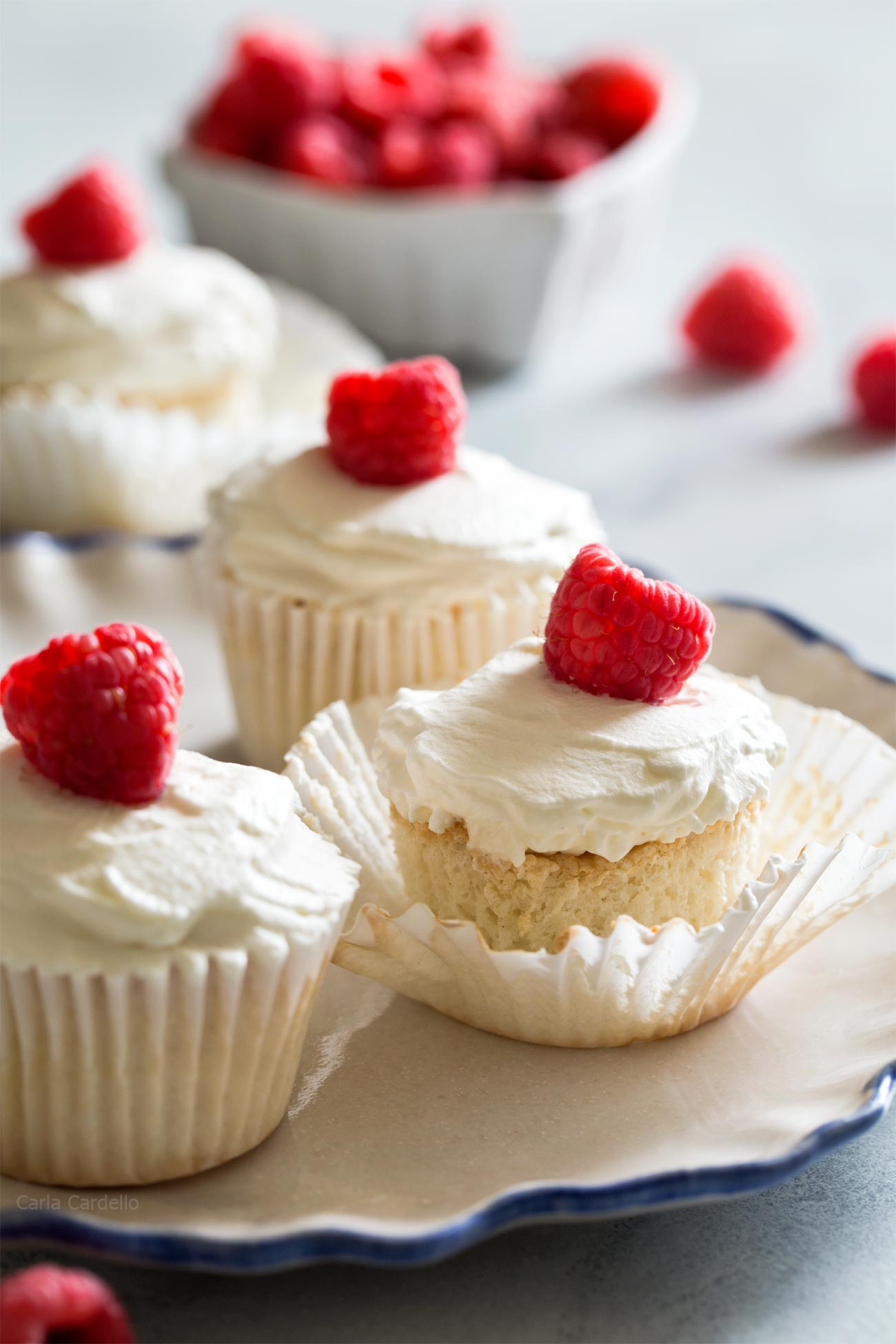 Small Batch Angel Food Cupcakes from scratch uses 2 egg whites and doesn't require a special tube cake pan to make them