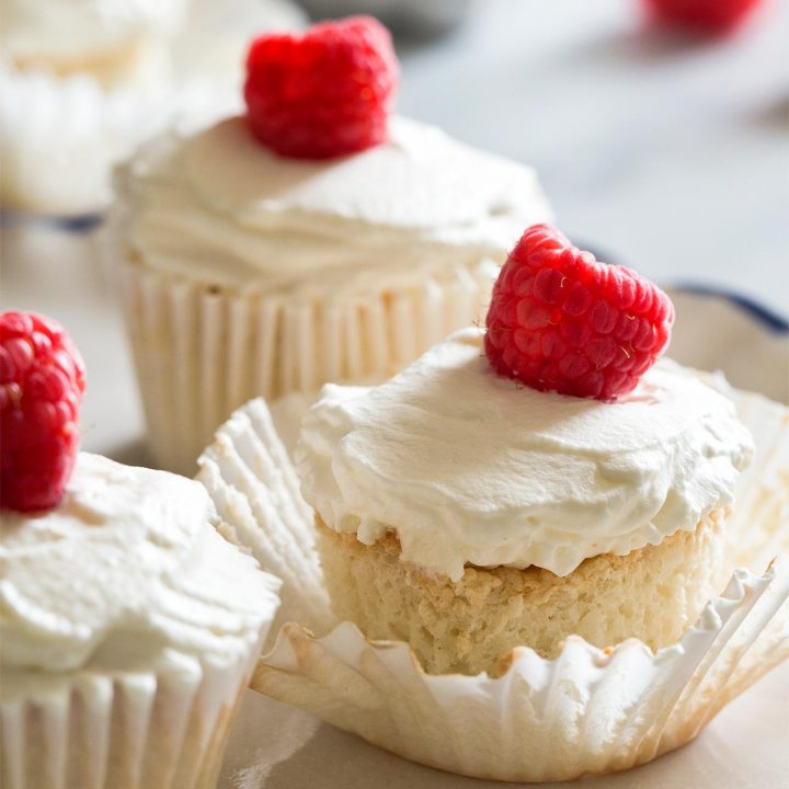Small Batch Angel Food Cupcakes makes 6 cupcakes