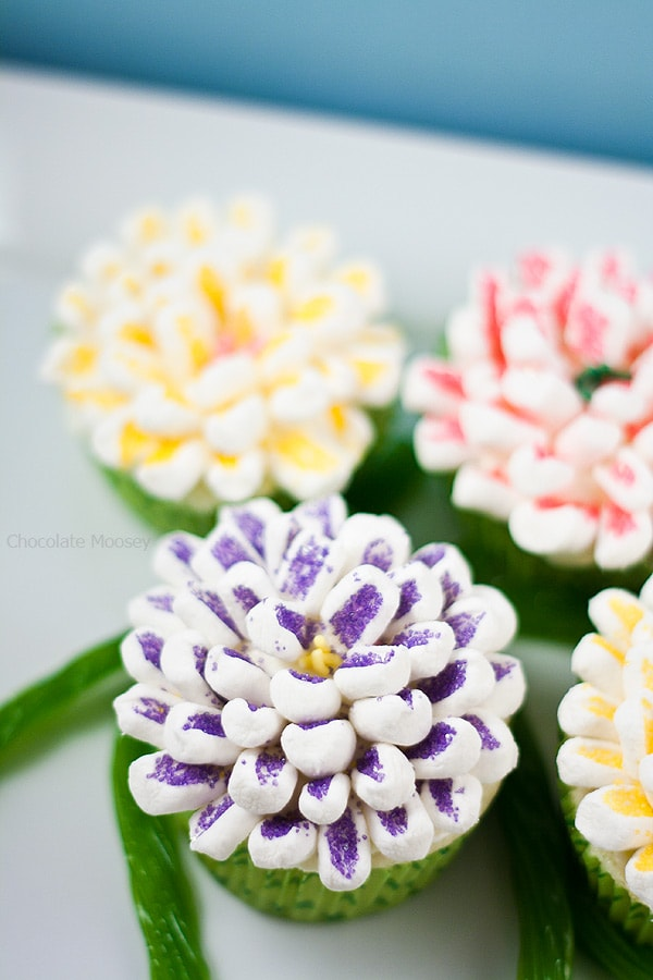 Moist and tender small batch Lemon Butter Mum Cupcakes are decorated with marshmallows to look like flowers. Makes only 6 cupcakes and is ideal for Mother's Day and spring celebrations.