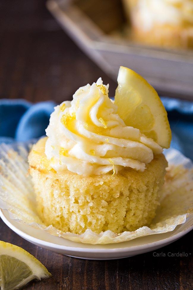 Close Up Of Unwrapped Lemon Cupcake