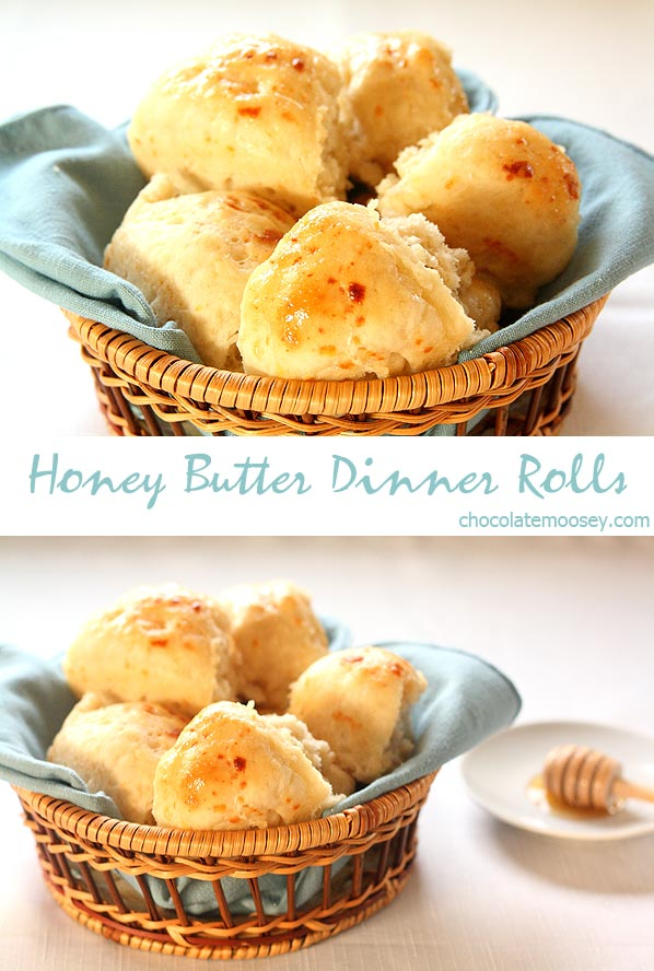 Fluffy, warm Honey Butter Dinner Rolls from scratch