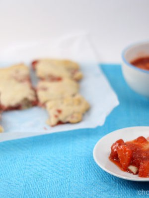 Strawberry Cream Biscuits With Strawberry Sauce