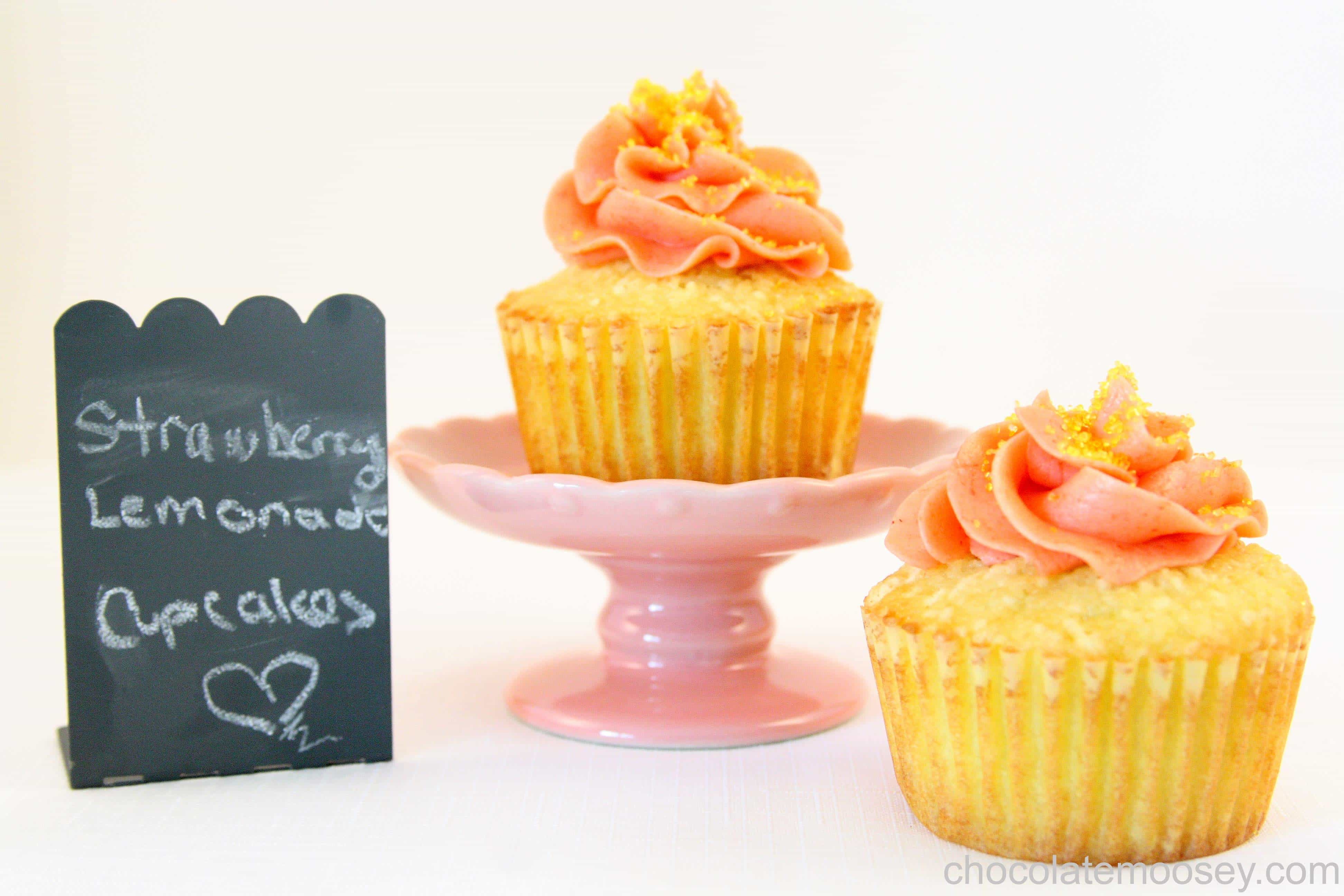 Strawberry Lemonade Cupcakes from www.chocolatemoosey.com