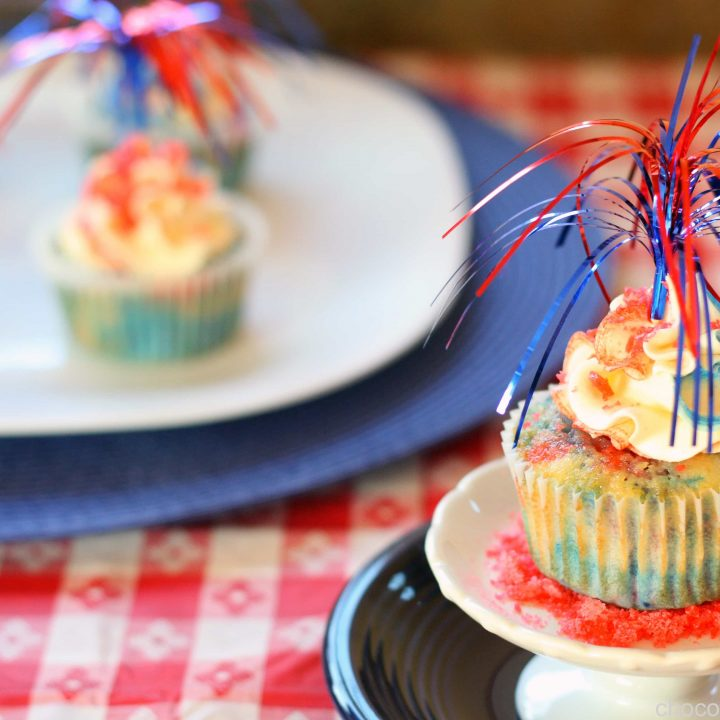Red, White, and Blue Firecracker Cupcakes
