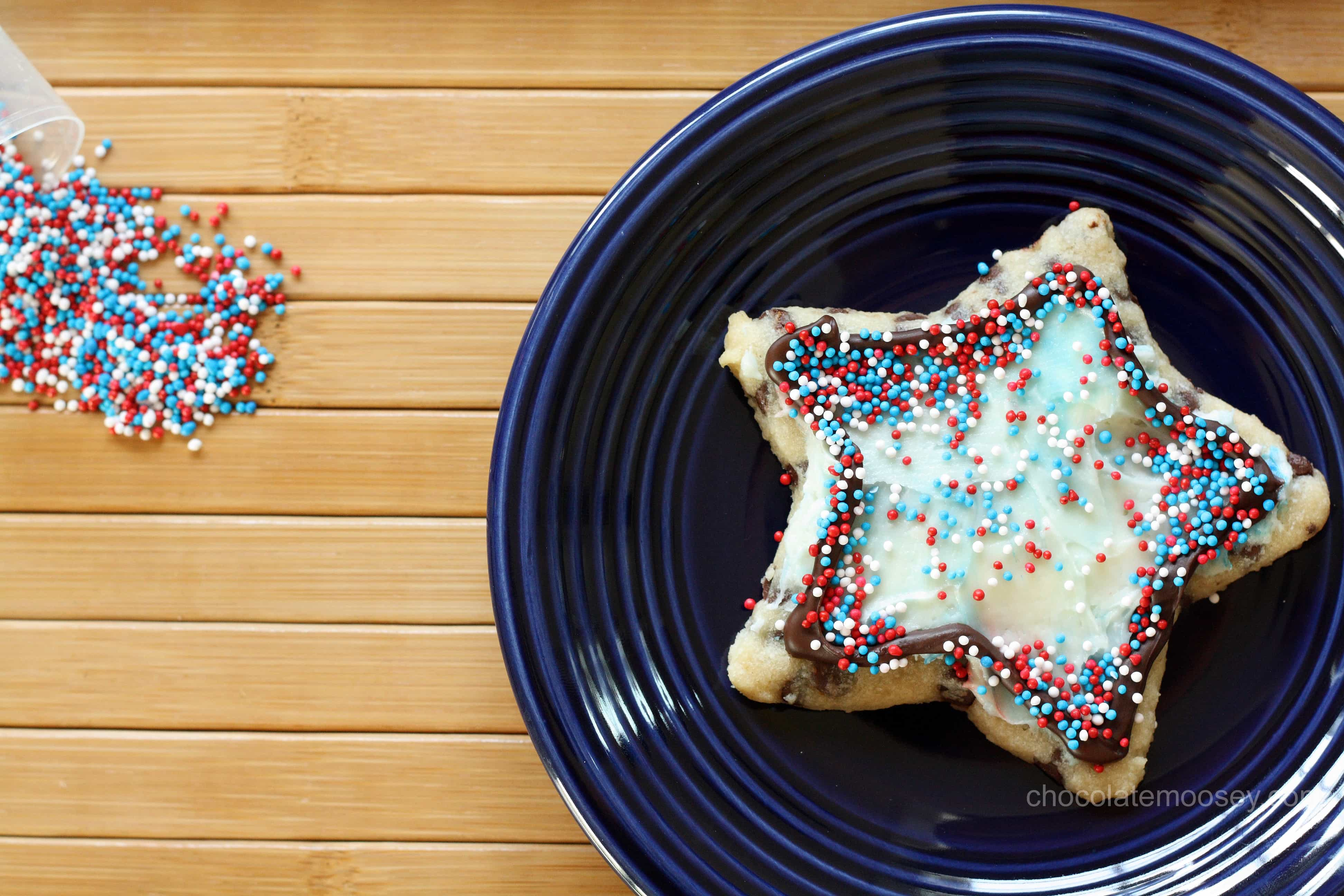 Chocolate Chip Cut Out Cookies decorated with frosting