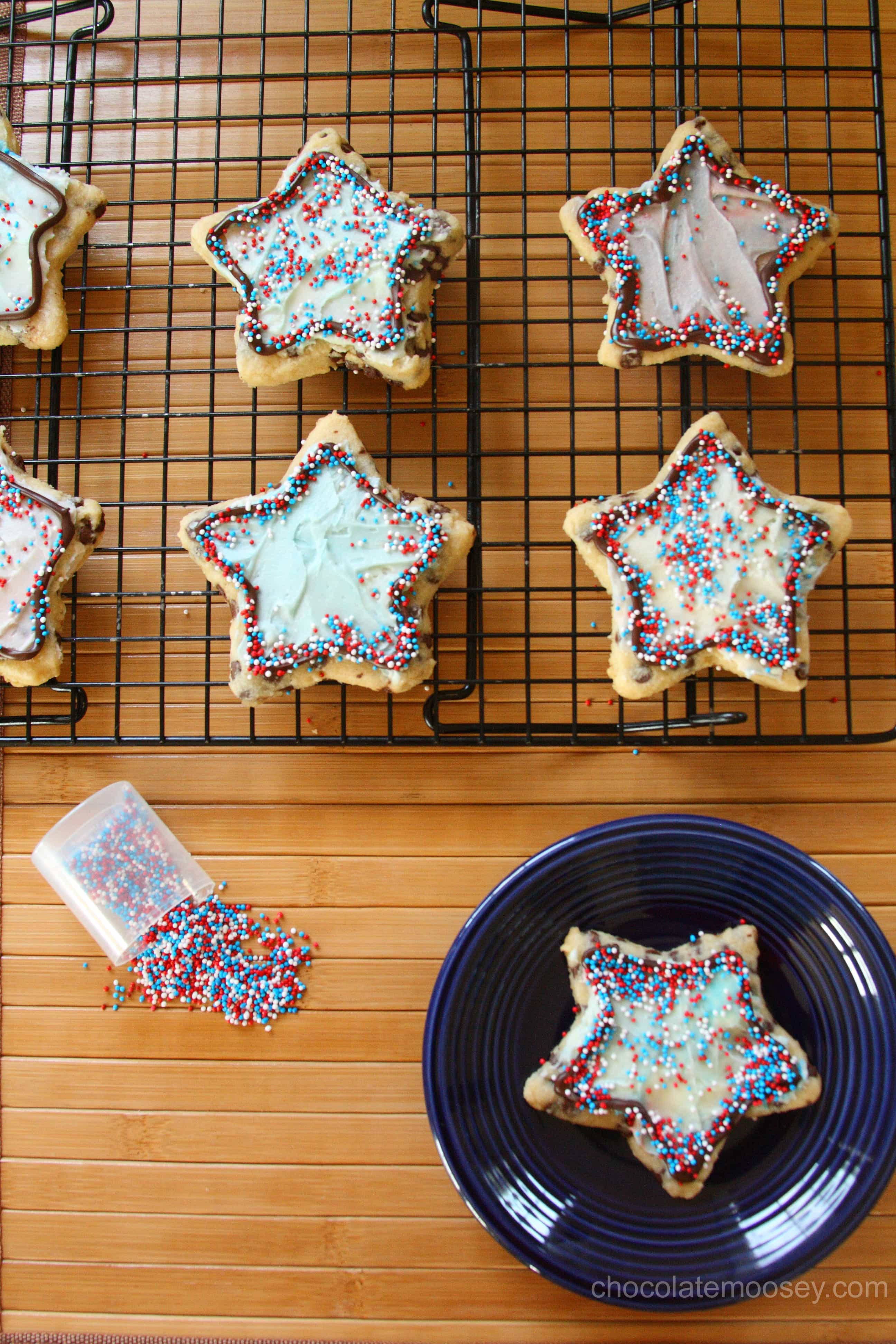 Chocolate Chip Cut Out Cookies cut into shapes