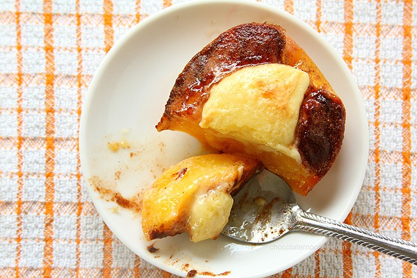 Cheesecake Stuffed Peaches | www.chocolatemoosey.com