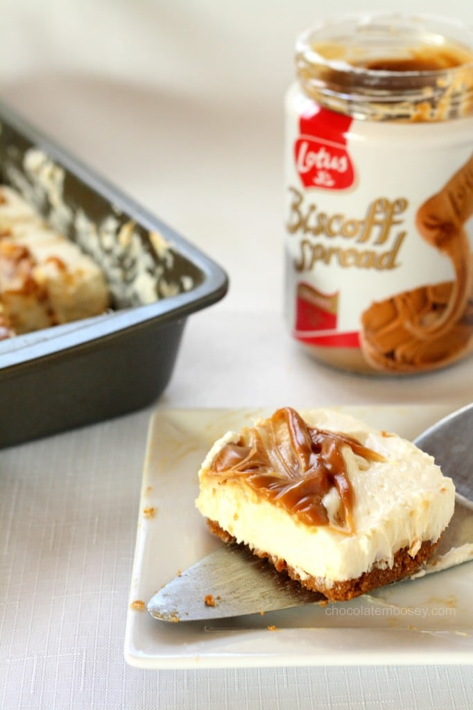 slice of biscoff cheesecake with a spatula under it and can of biscoff in the background