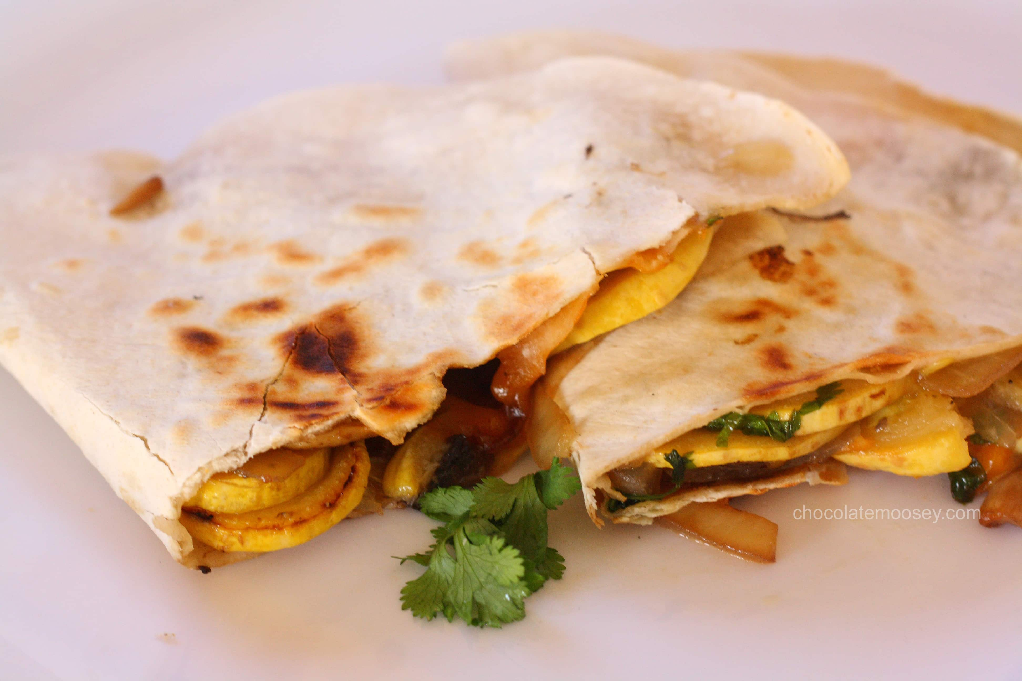 Summer Squash and Mushroom Quesadillas