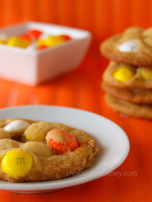 White Chocolate Candy Corn M&M Cookies