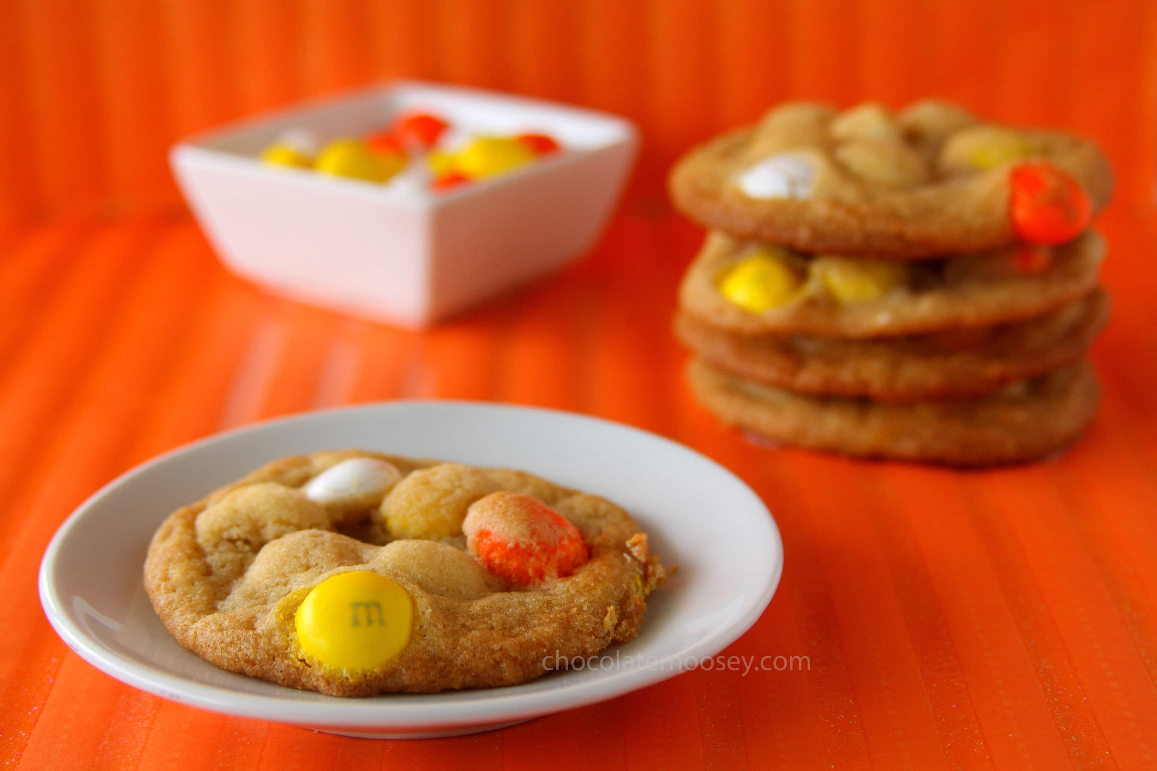 White Chocolate Candy Corn MnM Cookies