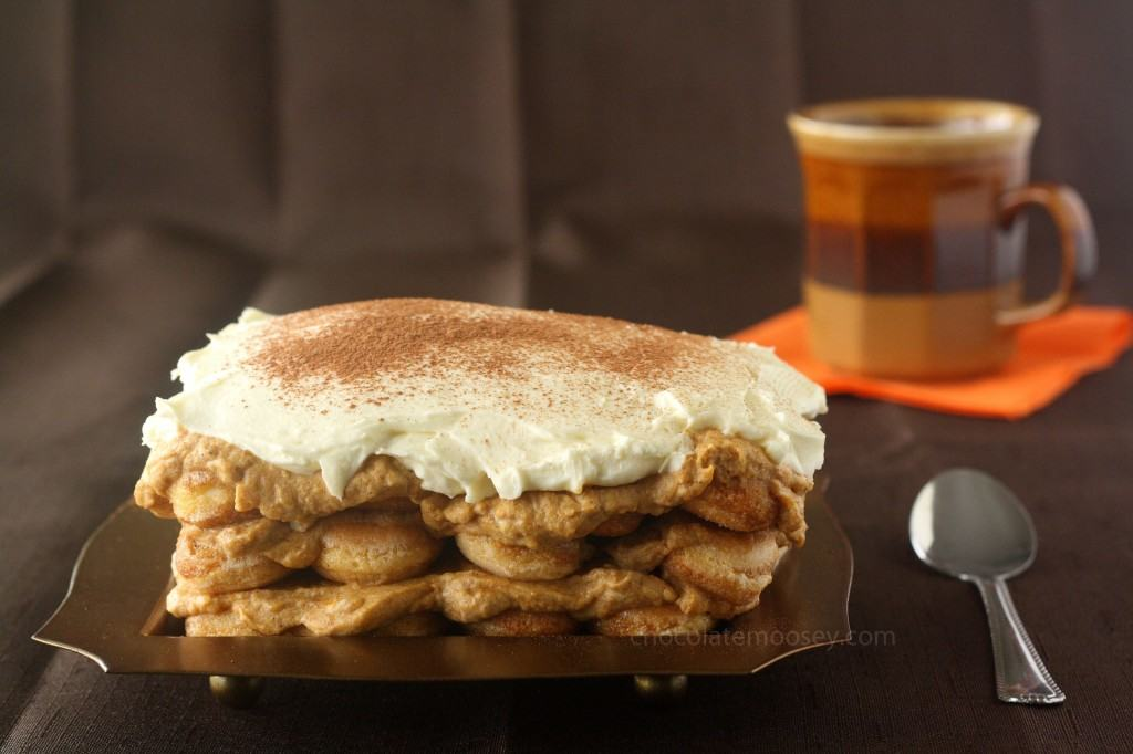 Pumpkin Tiramisu with Pumpkin Butter Caramel Sauce