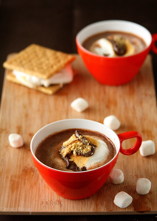 S'mores Hot Cocoa with toasted marshmallow and cookie butter