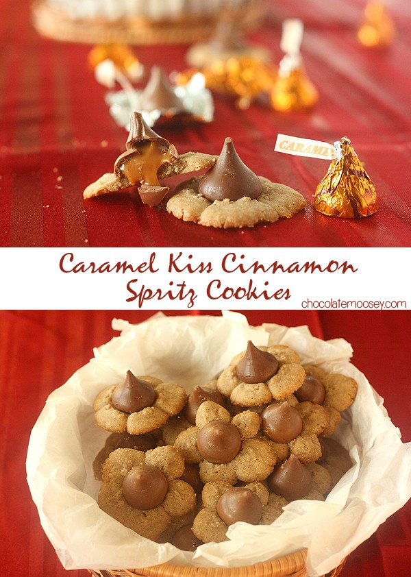 Caramel Kiss Cinnamon Spritz Cookies recipe