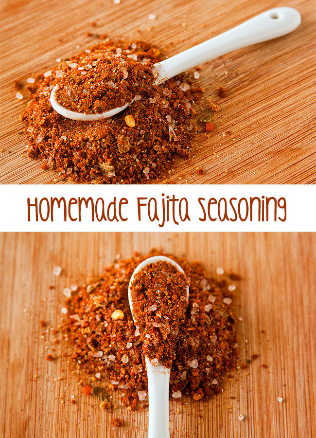 Collage of Fajita Seasoning on a white spoon