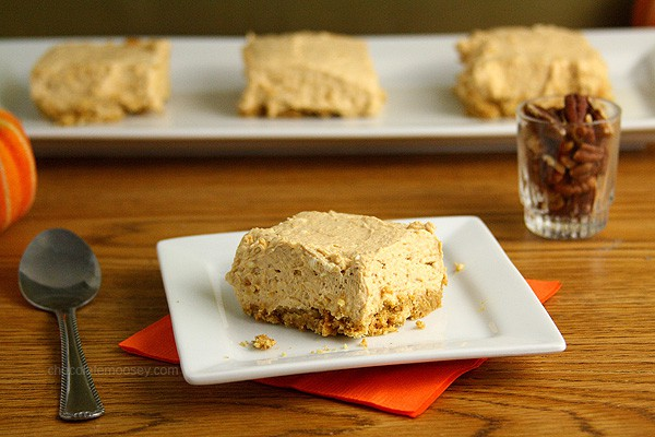 Eggless No Bake Pumpkin Cheesecake Bars for Thanksgiving dessert