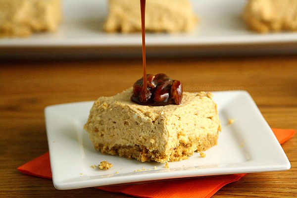 Eggless No Bake Pumpkin Cheesecake Bars with homemade praline sauce