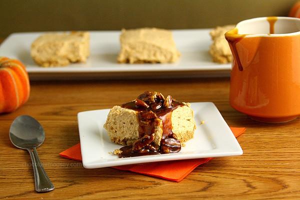 Eggless No Bake Pumpkin Cheesecake Bars with graham cracker crust