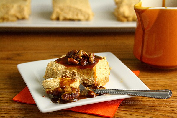 No Bake Egg Free Pumpking Cheesecake With Praline Sauce | www.chocolatemoosey.com
