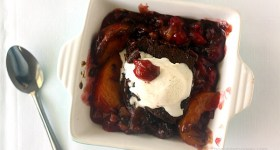 Peach and Cherry Gingerbread Cobbler | www.chocolatemoosey.com