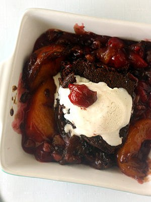 Peach and Cherry Gingerbread Cobbler