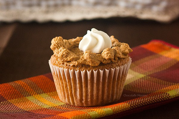 Put a fun twist on pumpkin pie with these Pumpkin Pie Cupcakes! Piped with homemade whipped cream to look like mini pies, these pumpkin spice cupcakes will take center stage on your Thanksgiving dessert table.