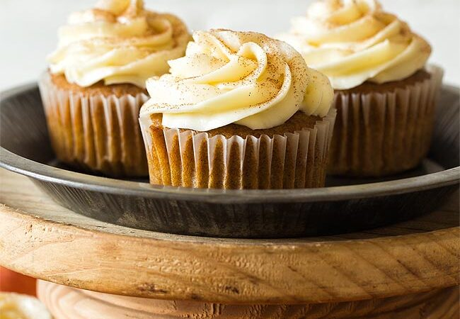 Pumpkin Cupcakes on a cake stand