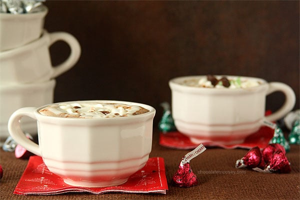 Cherry Cordial and Mint Truffle Kiss Hot Chocolate with Marshmallow Whipped Cream - 1 of 50 Warm Drinks for Kids and Adults - See the Collection on Basilmomma.com