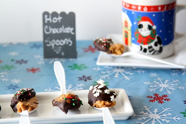Chocolate Peanut Butter Hot Chocolate Spoons