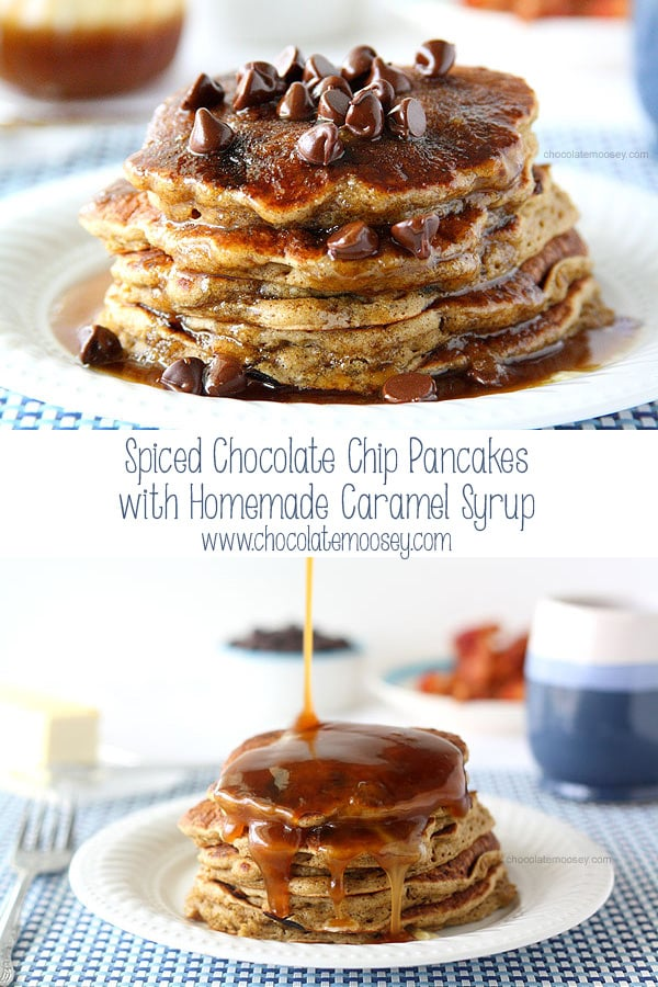 Start your morning off right with a stack of Spiced Chocolate Chip Pancakes with cinnamon and clove then drowned in a thin homemade caramel syrup. Recipe makes two mini stacks of pancakes to enjoy breakfast for two.