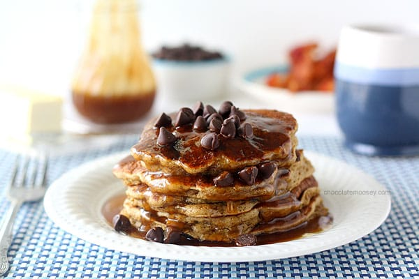 Spiced Chocolate Chip Pancakes with Homemade Caramel Syrup