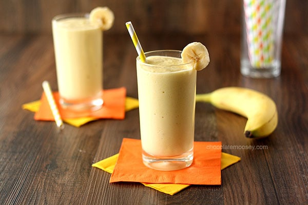 ... Banana Mango Smoothie made with fresh fruit and Greek yogurt