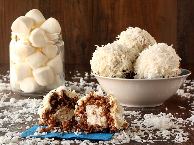 Big Rice Crispy Treat Snowballs
