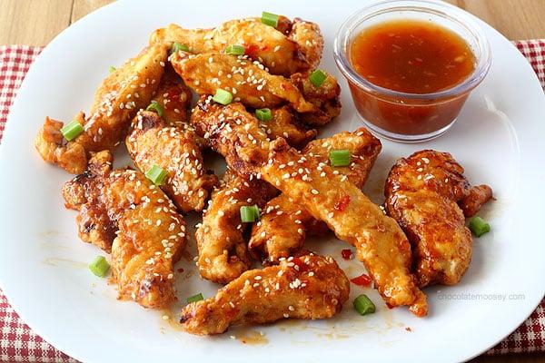 General Tso's Sweet Chili Chicken Strips from www.chocolatemoosey.com @chocolatemoosey